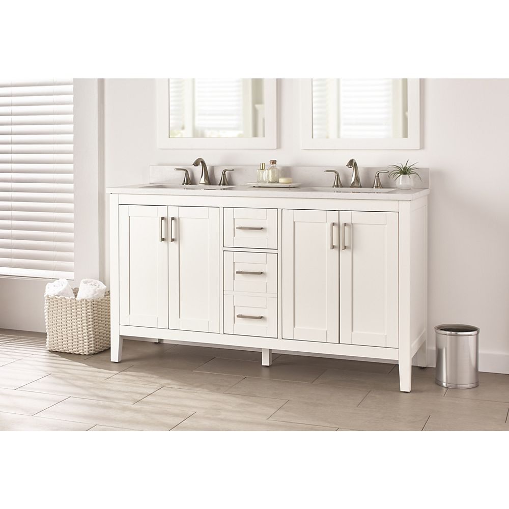 Home Decorators Collection Ellia 60 Inch 4 Door 2 Drawer Bathroom Vanity In White With Eng The Home Depot Canada