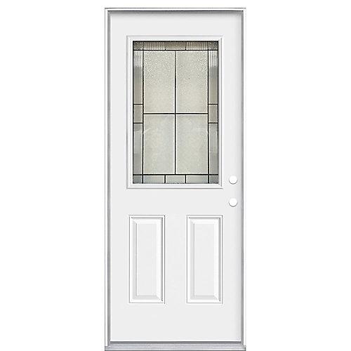 32 x 4 9/16 Antique Black 1/2 Lite Entry Door LH