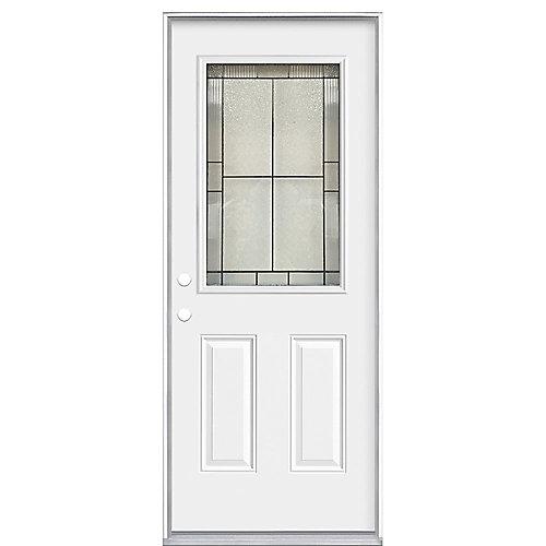 32 x 4 9/16  Antique Black 1/2 Lite Entry Door RH