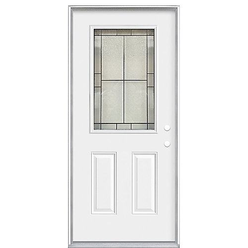 36 x 4 9/16 Antique Black 1/2 Lite Entry Door LH