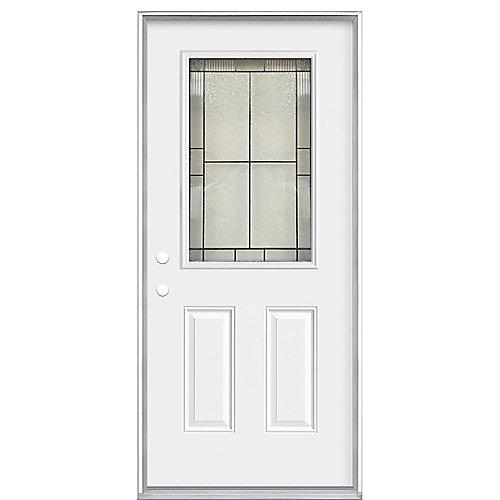 36 x 4 9/16 Antique Black 1/2 Lite Entry Door RH
