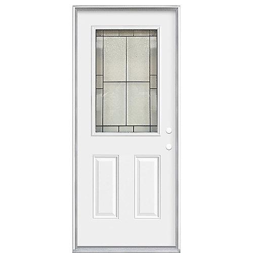 34 x 7 1/4 Antique Black 1/2 Lite Entry Door LH