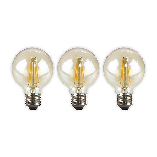 60W Equivalent Amber (2200K) G25 Dimmable LED Light Bulb (3-Pack)
