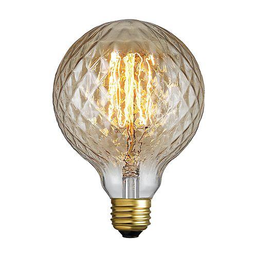 Globe Electric Ampoule Miel incandescente G25 Vintage Edison de couleur ambre de 40W