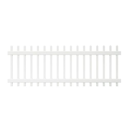 Chelsea 3 ft. H x 8 ft. W White Vinyl Spaced Picket Fence Panel