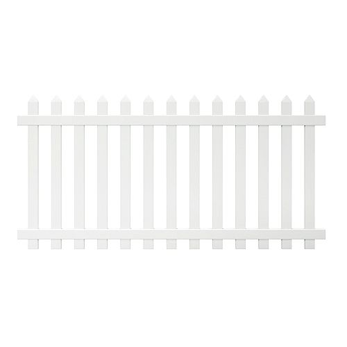 Glendale 4 ft. H x 8 ft. W White Vinyl Spaced Picket Fence Panel with Pointed Pickets