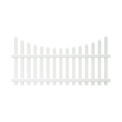 Glendale 4 ft. H x 8 ft. W White Vinyl Scalloped Top Spaced Picket Fence Panel with 3 inch Unassembled Pointed Pickets