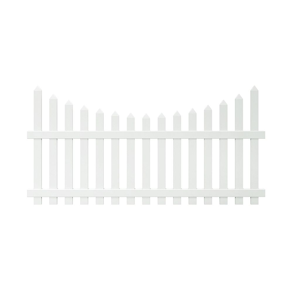 Veranda Glendale 4 ft. H x 8 ft. W White Vinyl Scalloped Top Spaced Picket Fence Panel with 3 inch Unassembled Pointed Pickets