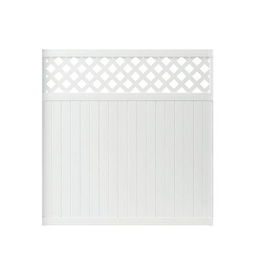 Lewiston 6 ft. H x 6 ft. W White Vinyl Lattice Top Fence Panel
