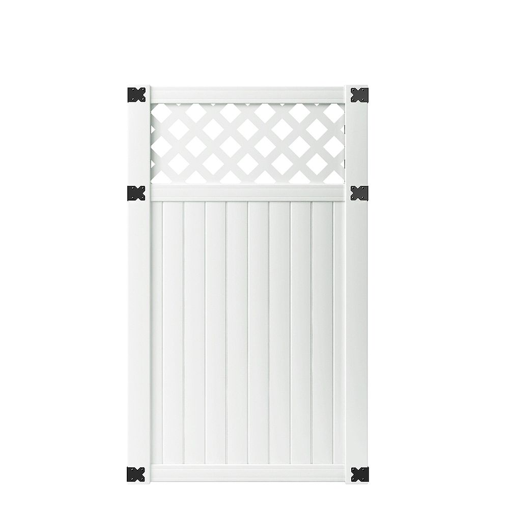 Veranda 3-1/2 ft. W x 6 ft. H White Vinyl Lewiston Lattice Top Fence Gate