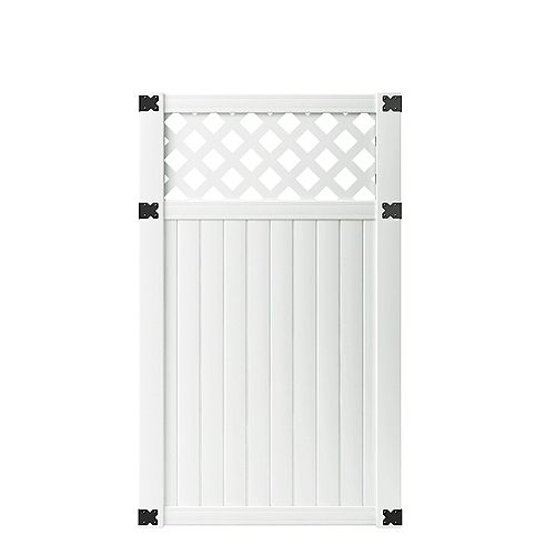 3-1/2 ft. W x 6 ft. H White Vinyl Lewiston Lattice Top Fence Gate