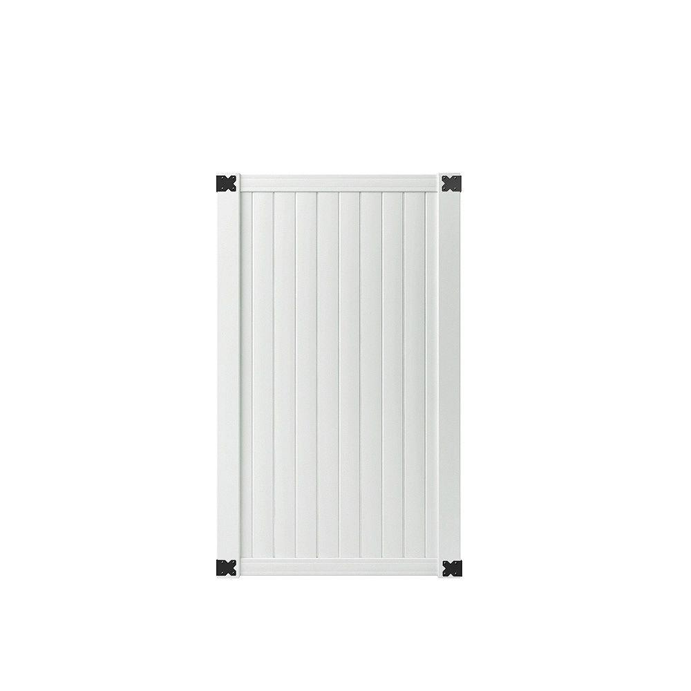 Veranda Portail de clôture intimité Somersert de 1,07 m lar x 1,83 m haut (3-1/2 pi lar x 6 pi haut) en lattes de vinyle blanc
