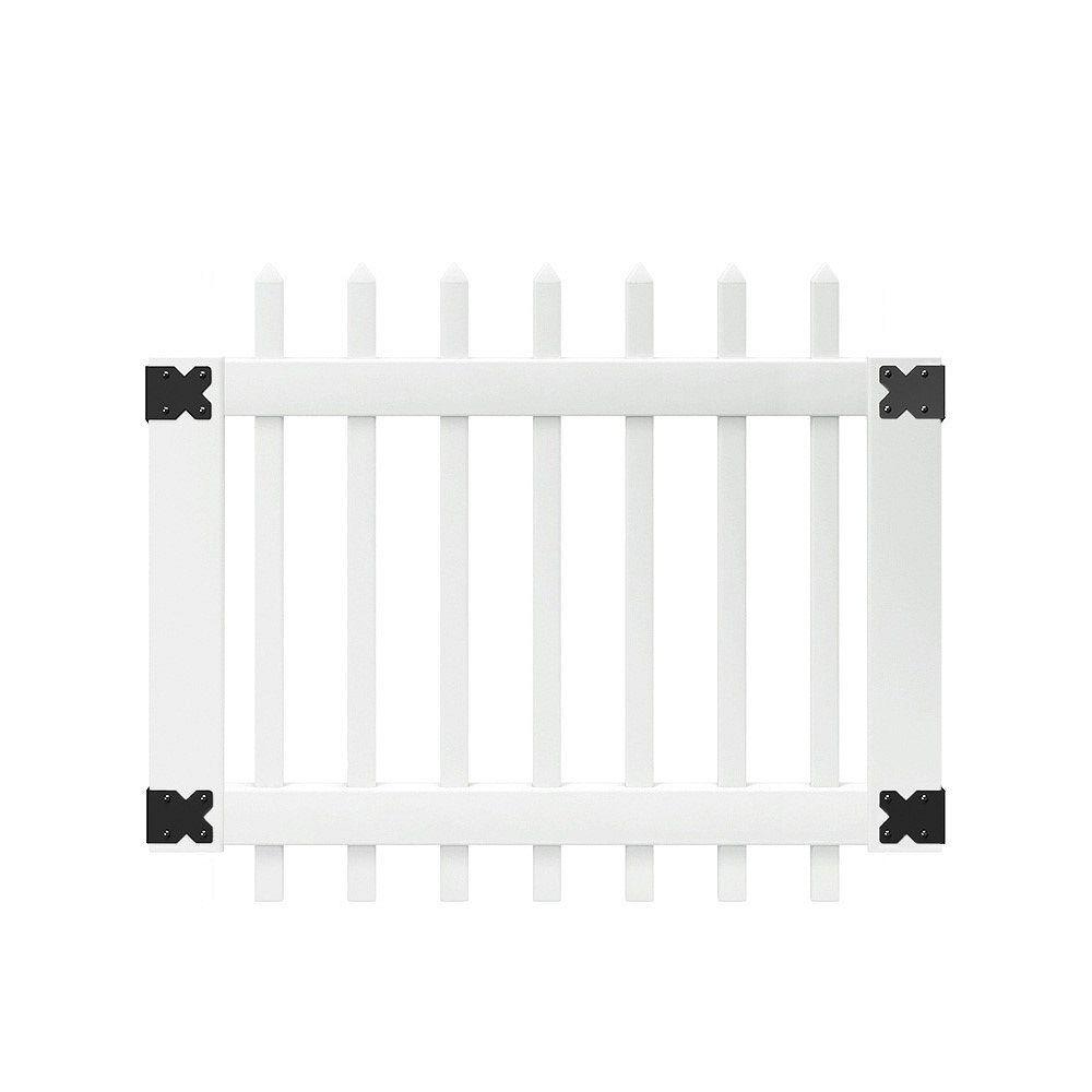 Veranda 3-1/2 ft. W x 3 ft. H White Vinyl Chelsea Spaced Picket Fence Gate