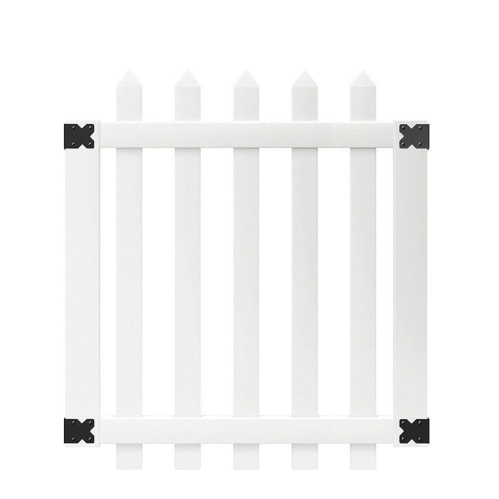 Veranda Portail de clôture en lattes espacées de vinyle blanc Glendale de 1,07 m lar x 1,22 m haut (3,5 pi lar x 4 pi haut) avec des lattes pointues de 7,6 cm (3 po)