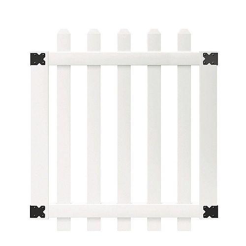 Veranda 3-1/2 ft. W x 4 ft. H White Vinyl Glendale Spaced Picket Fence Gate with 3 inch Dog Ear Fence Pickets