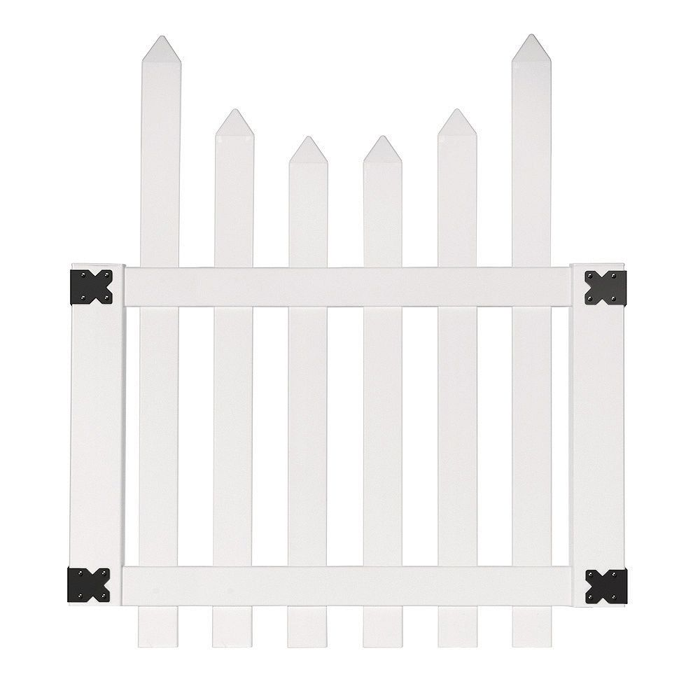 Veranda 3.5 ft. W x 4 ft. H White Vinyl Glendale Scalloped Top Spaced Picket Fence Gate with 3 inch Pointed Pickets