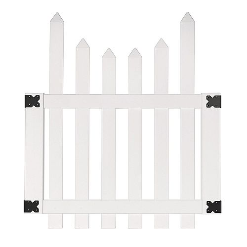 3.5 ft. W x 4 ft. H White Vinyl Glendale Scalloped Top Spaced Picket Fence Gate with 3 inch Pointed Pickets