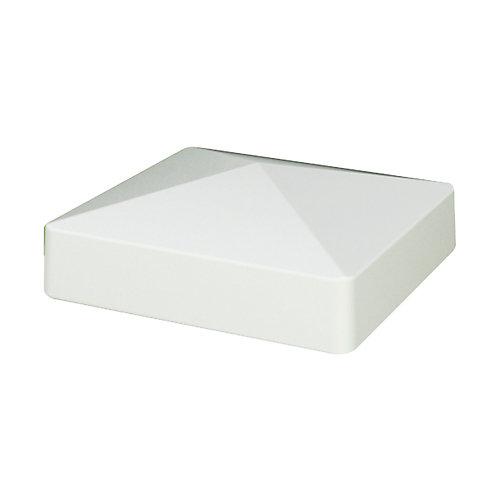 Capuchon de poteau pyramide 13 x 13 cm (5 x 5 po) de vinyle blanc