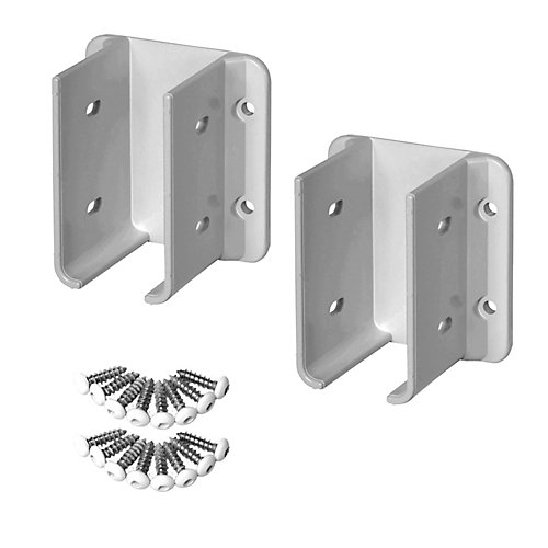 White Vinyl Fence Bracket Kit (2-Pack)