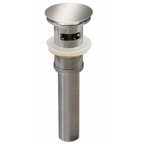 2.6-inch W Brass Bathroom Sink Drain With Overflow In Brushed Nickel