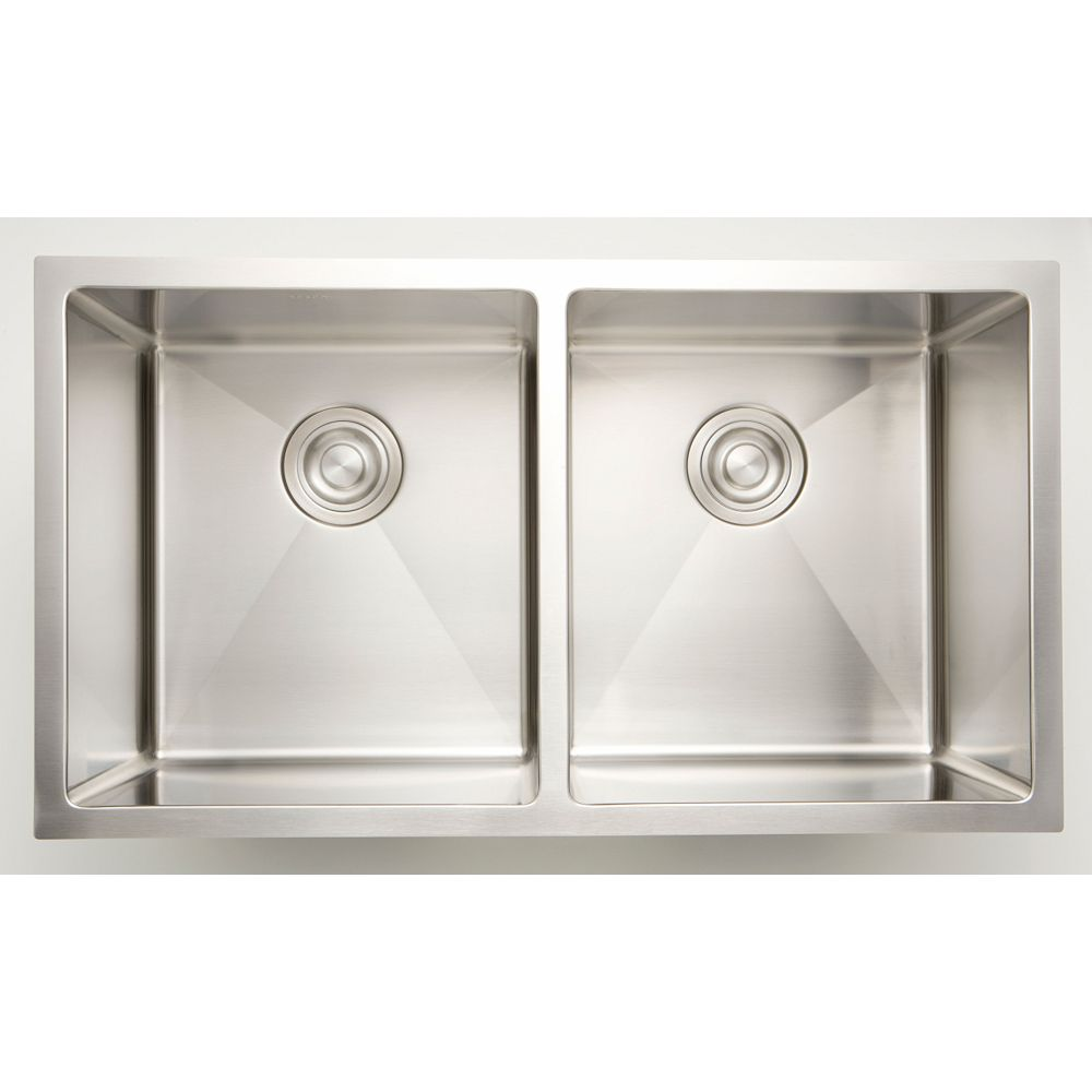 20 inch W 20/20 Double Bowl Undermount Kitchen Sink For a Deck Mount  Drilling