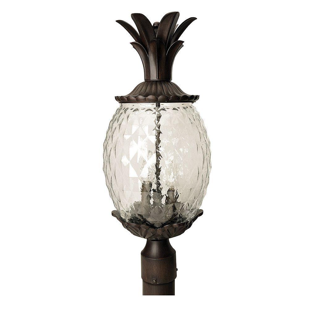 Acclaim Tête de lampadaire extérieur en corail noir à 3 ampoules de la Collection Lanai