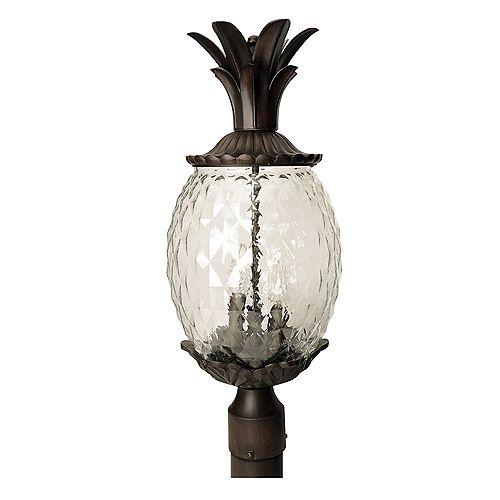 Tête de lampadaire extérieur en corail noir à 3 ampoules de la Collection Lanai
