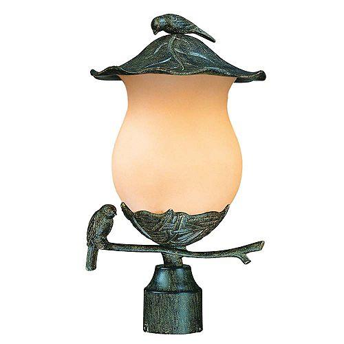 Tête de lampadaire extérieur à 2 ampoules de la Collection Avian avec verre de couleur champagne