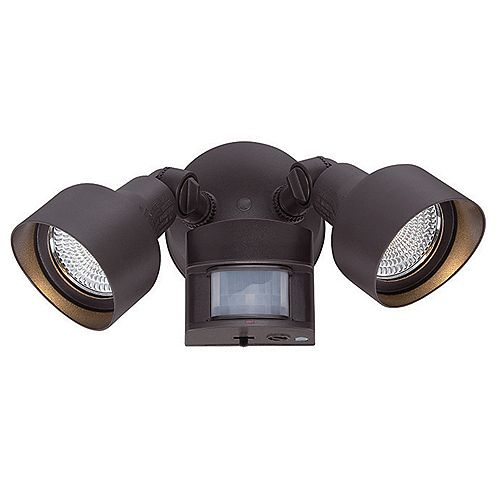 Acclaim Motion Activated Adjustable 2-Head 1218 Lumen LED Floodlight in Bronze