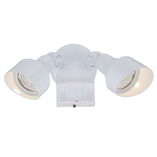 Acclaim Motion-Activated Adjustable 2-Head Adjustable LED Floodlight in White with 1218 Delivered Lumens
