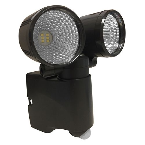 LED Dual Head Battery Operated Bronze Bright Spotlight with Motion Sensor and Auto Shutoff