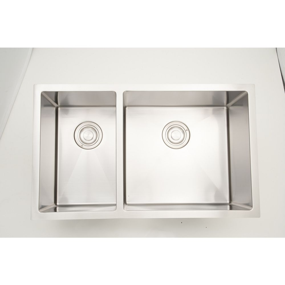 American Imaginations 32 Inch W Double Bowl Undermount Stainless Steel Kitchen Sink For A The Home Depot Canada