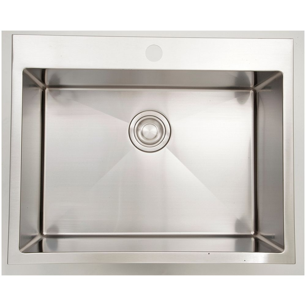 American Imaginations 27-inch W Single Bowl Drop In Kitchen Sink For a Single Hole Drilling