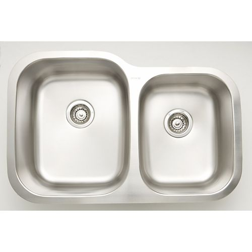 American Imaginations 29.62-inch W Double Bowl Undermount Kitchen Sink For a Wall Mount Drilling