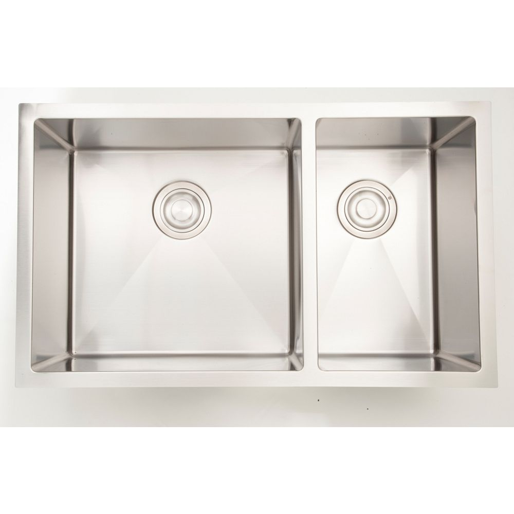 American Imaginations 33 Inch W Double Bowl Undermount Kitchen Sink For A Wall Mount Drill The Home Depot Canada