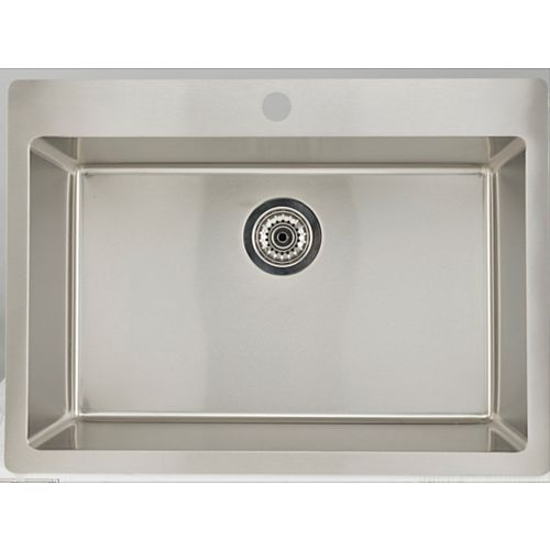 25-inch W x 22-inch D Drop In Laundry Sink For a Single Hole Faucet Drilling with Gauge 16