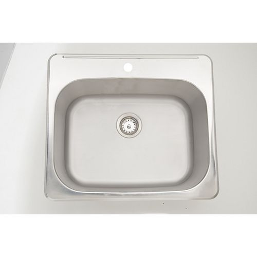 25-inch W x 22-inch D Drop In Laundry Sink For a Single Hole Faucet Drilling with Gauge 18