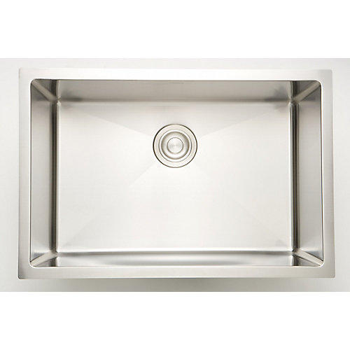 27-inch W x 18-inch D Undermount Laundry Sink For a Deck Mount Faucet Drilling