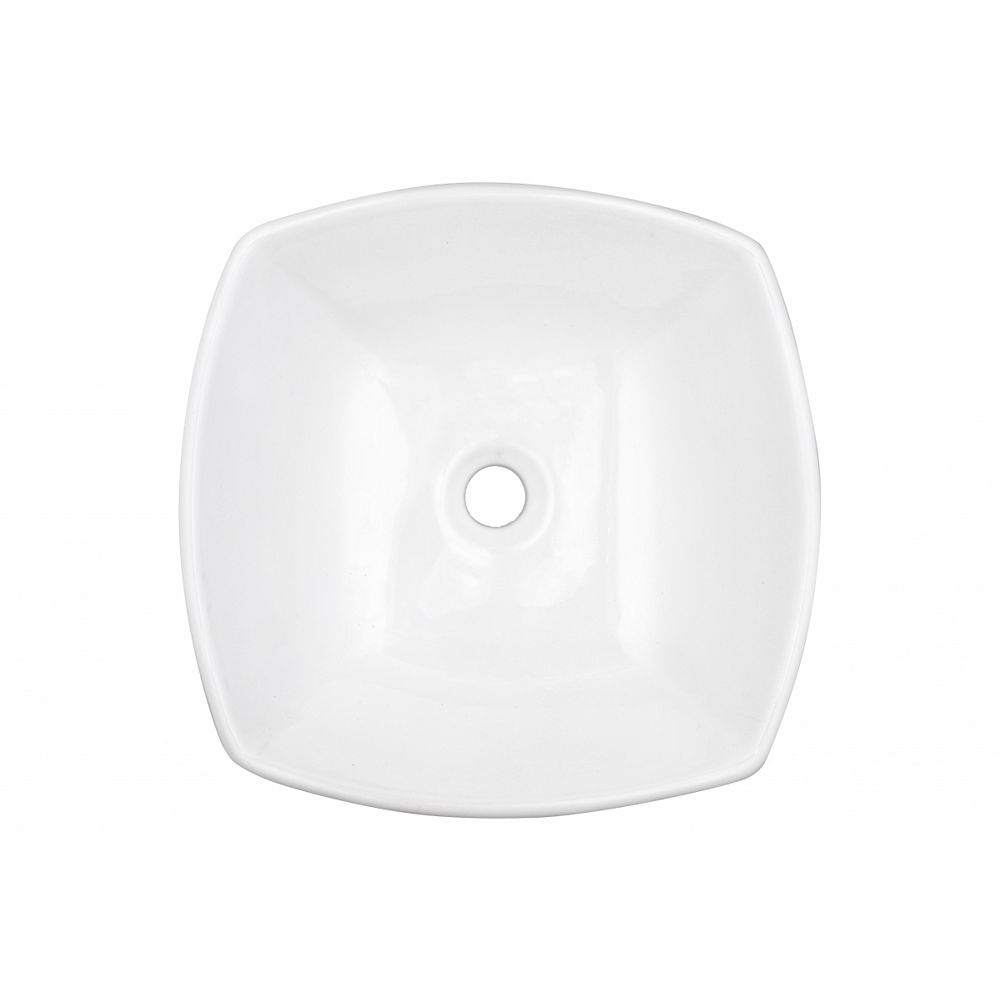 American Imaginations 16.5-inch W Above Counter White Vessel For Wall Mount Center Drilling