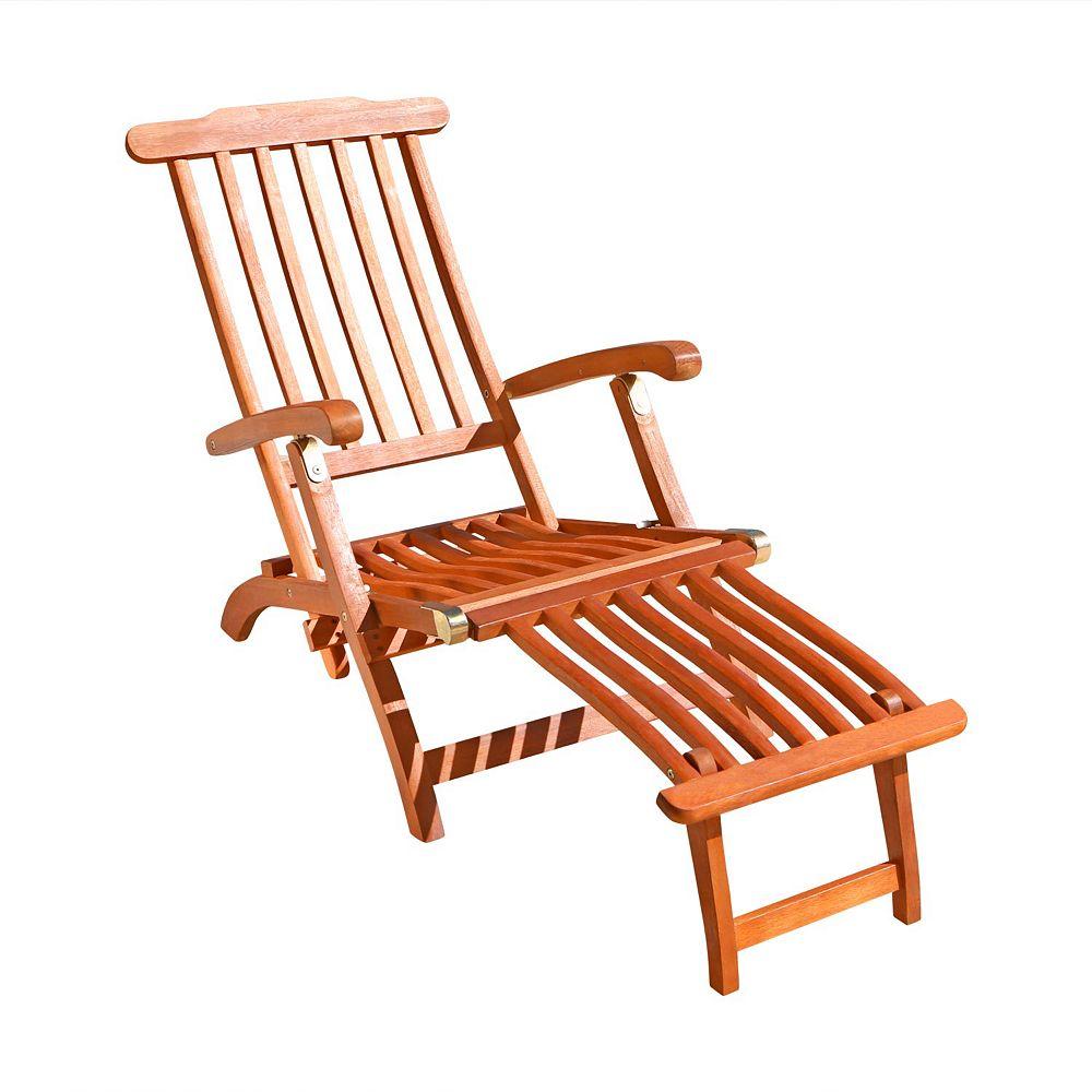 Vifah Malibu Outdoor Wood Folding Steamer Lounge