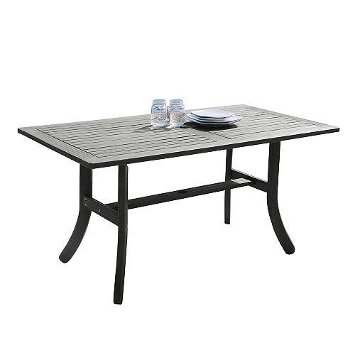 Table de salle à manger rectangulaire en bois, grattée à la main, avec patio surélevé