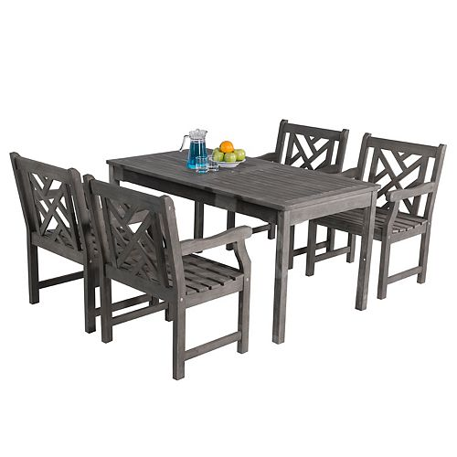 Renaissance Outdoor 5-Piece Patio Dining Set with Traditional Table and Mosaic Chairs