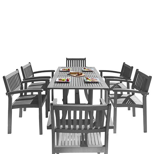 Renaissance Outdoor 7-Piece Dining Set with Stacking Chairs and Curve Leg Table