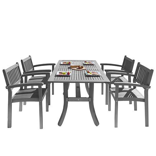 Renaissance Outdoor 5-Piece Dining Set with Stacking Chairs and Curve Leg Table