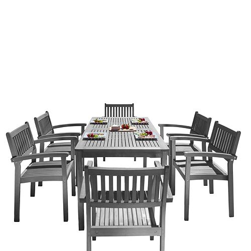 Renaissance 7-Piece Patio Hand-scraped Wood Dining Set with Stacking Chairs