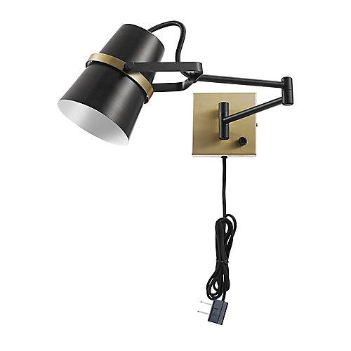McKibbin 1-Light Matte Black Plug-In or Hardwire Swing Arm Wall Sconce