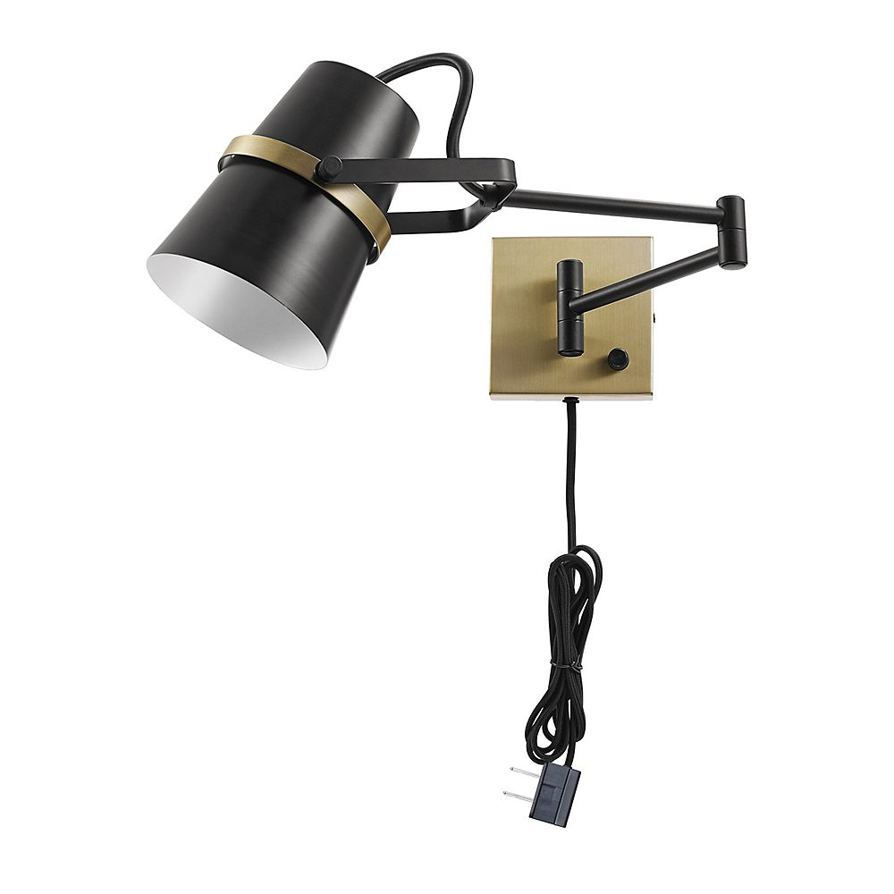 Globe Electric McKibbin 1-Light Matte Black Plug-In or Hardwire Swing Arm Wall Sconce