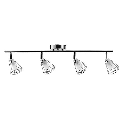 Rail d'éclairage de collection Sansa à 4 lumières fini en chrome avec abat-jour en verre givré