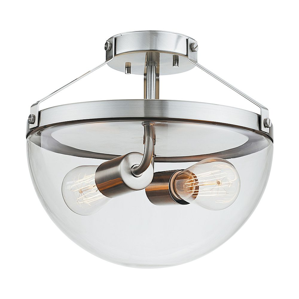 Globe Electric Belsize 2 Light Brushed Steel Semi Flush Mount Ceiling Light With Clear Gla The Home Depot Canada
