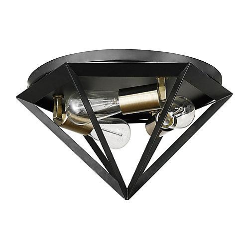 Merton 3-Light Dark Bronze Semi-Flush Mount Ceiling Light with Brass Socket